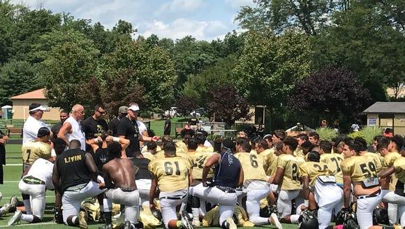 Paramus Catholic Coach Dan Sabella addresses his team
