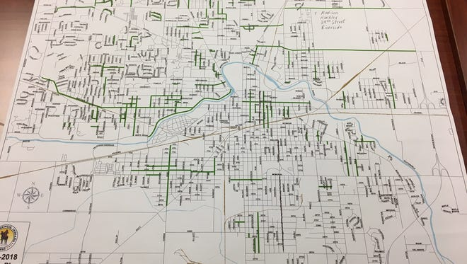 The city of Muncie's 2017-2018 paving plan map.
