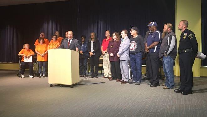 Mayor Mike Duggan and Chief James Craig announced the hidden camera program Wednesday, Sept. 6, 2017.