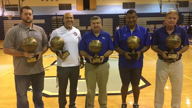Oakland boys coach Troy Bond (second from left) won the Class AAA Don Meyer BCAT Coach of the Year award recently. Other honorees included (from left): Harriman's Shay Shannon, Macon County's Jason Welch, USJ's Tony Shutes and Clarkrange's Lamar Rogers.