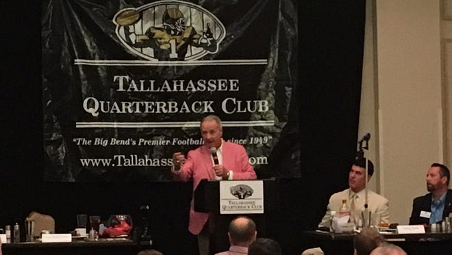 Former Florida State head coach Bobby Bowden speaks to the Tallahassee QB Club on Tuesday night at the University Club Center at Doak Campbell Stadium.