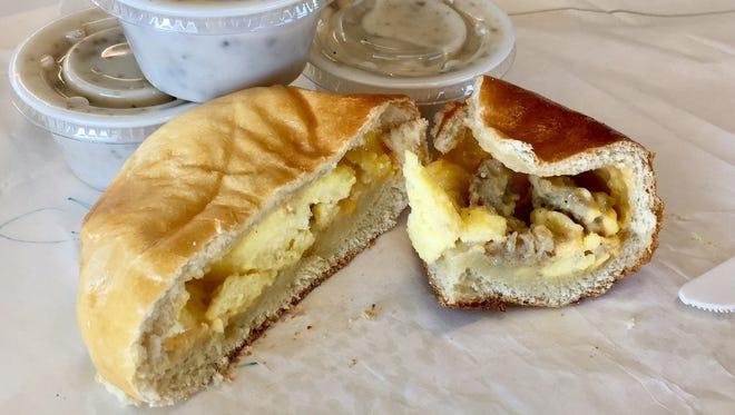 The inside of a breakfast kolache.