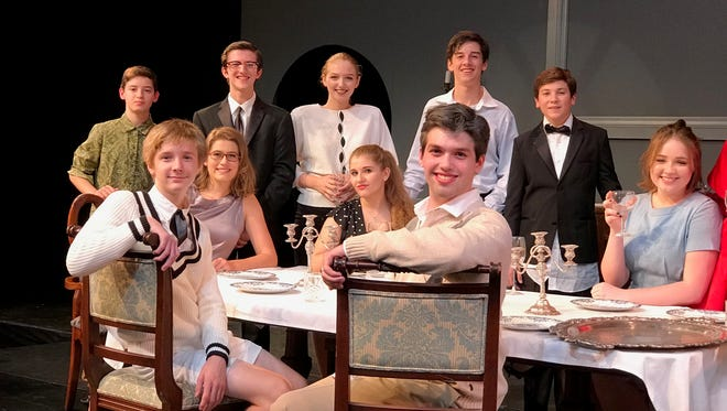 """Cast members at a recent rehearsal of """"The Dining Room"""" at Ridgewood High School. The play opens on Oct. 26 and continues with performances on Oct. 27 and 28."""