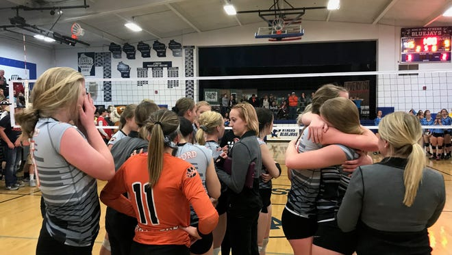 Stratford volleyball players shed tears of joy and hugs after claiming the school's firs trip to the Division 3 state tournament with a five-set win over Saint Mary Catholic on Saturday night.