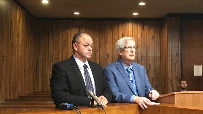 "Eriberto ""Eddie"" Carrero in Superior Court on Wednesday with his attorney, Miles Feinstein."