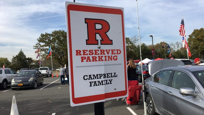Reserved parking near the entrance to Rutgers' High Point Solutions Stadium in Piscataway.