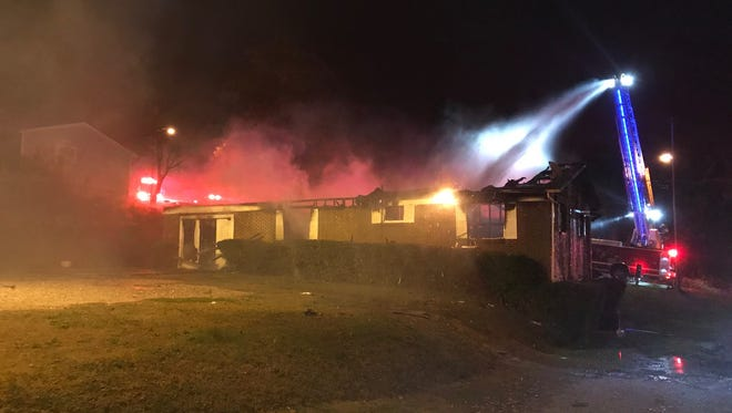 Investigators are working to determine the cause of a fire that destroyed a home at 2901 Lay Ave. in East Knoxville on Monday, Nov. 6, 2017.