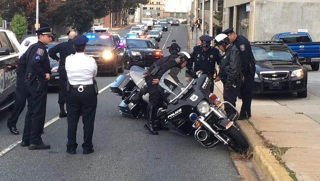 Several lanes of 12th Street,near downtown Wilmington, were closed after two city police motorcycles crashed Wednesday afternoon.