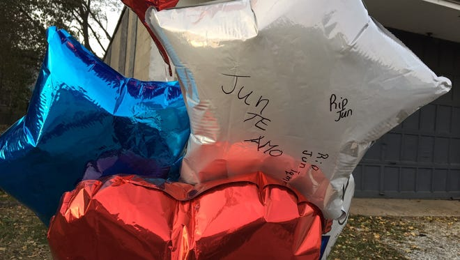 Friends and family left messages on balloons Saturday at a memorial for Jimmy Avila-Velez, who was shot and killed Friday night in York.