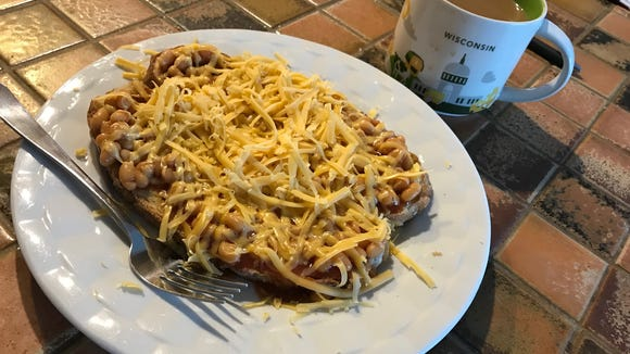 Cheesy beans on toast. OK, it might not look like much,