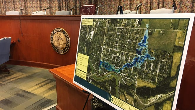 A map of the Whitely area displayed Wednesday by the Muncie Sanitary District.