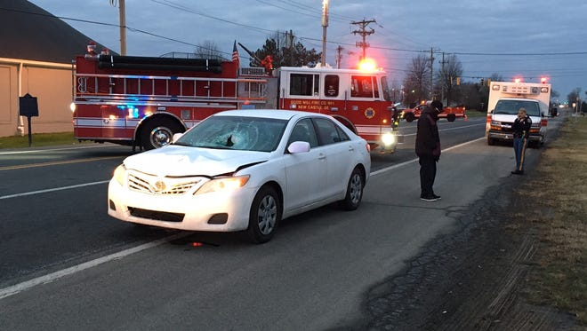 The scene of a crash along Frenchtown Road that killed a pedestrian Friday morning in New Castle.