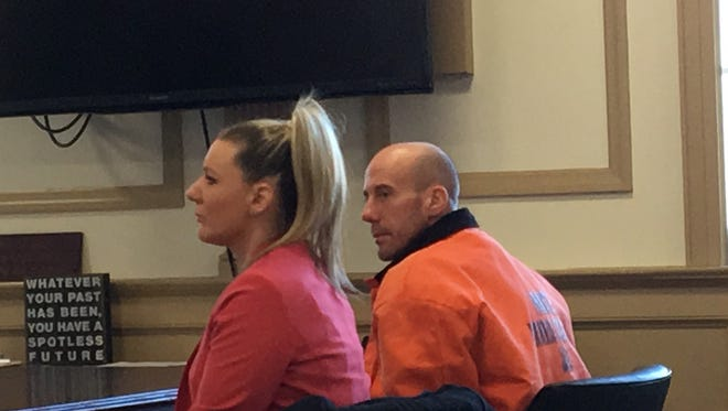 Accused robber Michael Conway of Morris Township with defense lawyer Tracy Denholtz in Superior Court, Morristown, on Jan. 10, 2018.