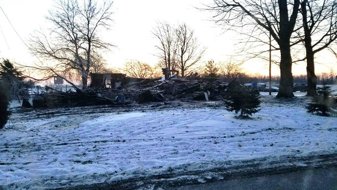 A home at 3625 North Rider Road was destroyed following a fire in Carroll Township on Wednesday.