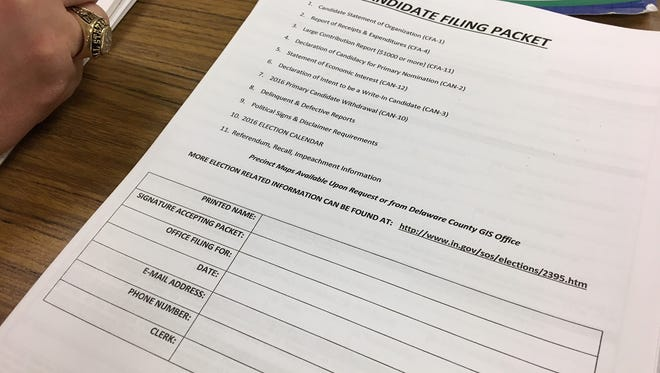 Election filing paperwork in the Delaware County clerk's office.