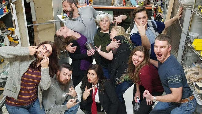 Backdoor Theatre Improv Troupe for Saturday, February 10, 2018 – one of the two nights of Valentine's Day weekend. Pictured: left to right: front – Jessica Cartwright, Michael Mitchell, Pam Hughes, Tina Haapala, Trey Herndon; back – Jennica Lambert, Jon Bailey, Nona Bailey, Kim Gordon and Luke Draper.