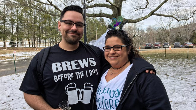 Justin Davis and Dianna Elphick at the Big Brew Beer Festival at the Morristown Armory on March 3, 2018, three weeks before their wedding.