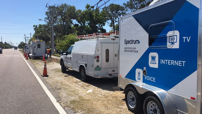 Spectrum crews were working to repair damage to fiber optic cables Wednesday afternoon.