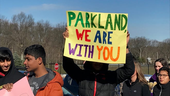 Students at Monroe High schoool walked out of class the morning of March 14, 2018 as part of a nationwide student protest calling for gun control in the wake of the Parkland, Florida school shooting on Feb. 14, 2018.