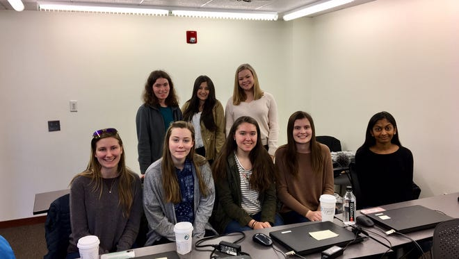 Members of a 16-person student committee that organized the March 24 March For Our Lives rally in Morristown. From left, front row: Brianna Arends, Caitlyn Dempsey, Mia Paone, Evie Mason, Meghana Maddali. Back row from left, Lexie Stephens, Bella Bhimani, Isabella Bosrock.