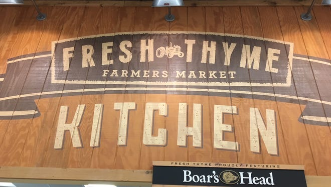 The sign over the deli at Fresh Thyme's store in Castleton.
