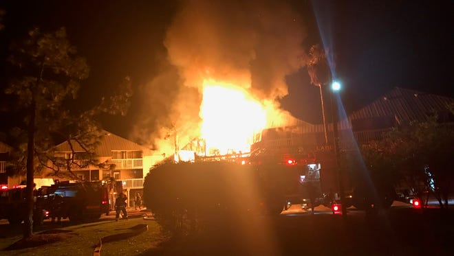 A condo fire on Valerie Drive Friday, April 6, 2018, injured one firefighter overnight and the building was declared a total loss.