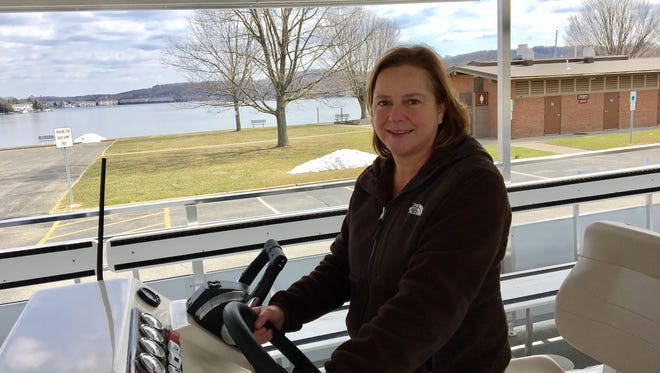 Donna Macalle-Holly, acting executive director of the Lake Hopatcong Foundation, aboard the Floating Classroom.