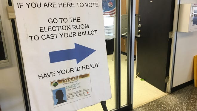 The sign outside the election office, where early voting is underway, in the Delaware County Building.
