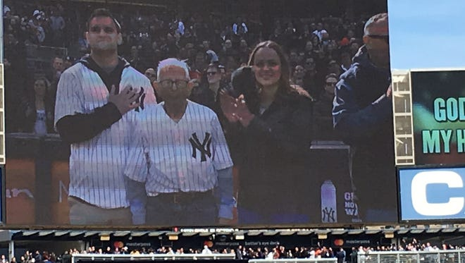 Anthony Venditti, a lifelong resident of Middlesex Borough, was honored at the April 7 Yankees game against the Baltimore Orioles. He was accompanied by his grandchildren, Emma and Luke Venditti, and his son, Anthony, of Chatham.