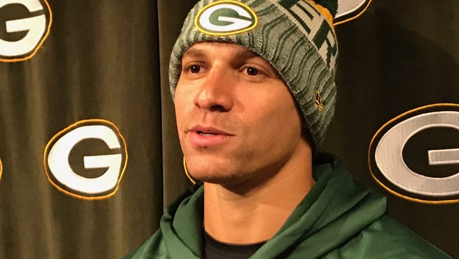 Packers tight end Jimmy Graham answers questions on April 17, 2018, the first day of the offseason program.