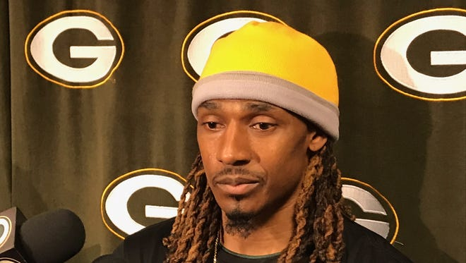 Packers cornerback Tramon Williams fields questions on April 17, 2018, the first day of the offseason  program.