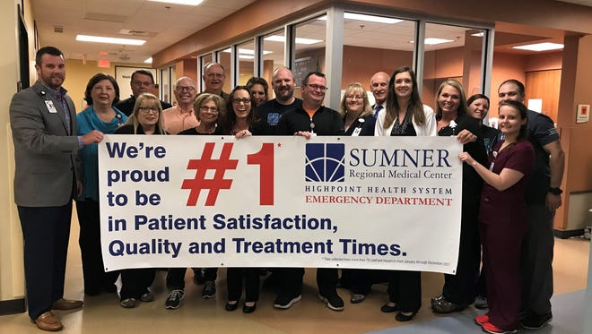 Sumner Medical Regional Center's ER was named No. 1 in patient satisfaction in the nation across LifePoint Health hospitals.