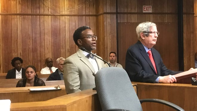Darien Allen, (L), with his attorney, Miles Feinstein, speaking to the judge at sentencing on Friday.