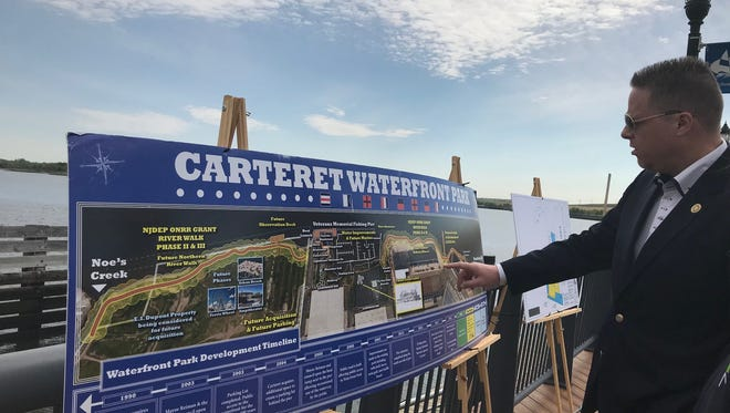 Carteret Mayor Daniel J. Reiman discusses plans along the borough's waterfront.