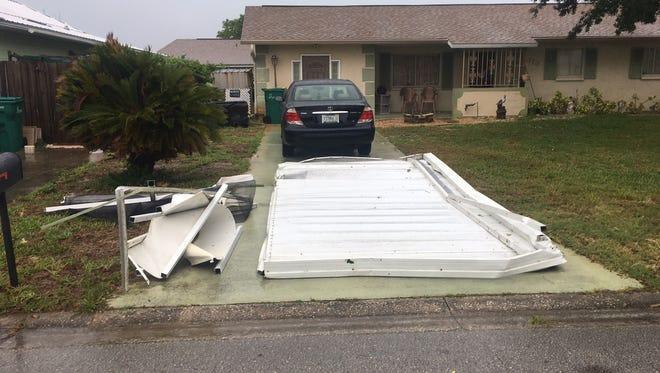 Strong storms Monday damaged a Merritt Island home.