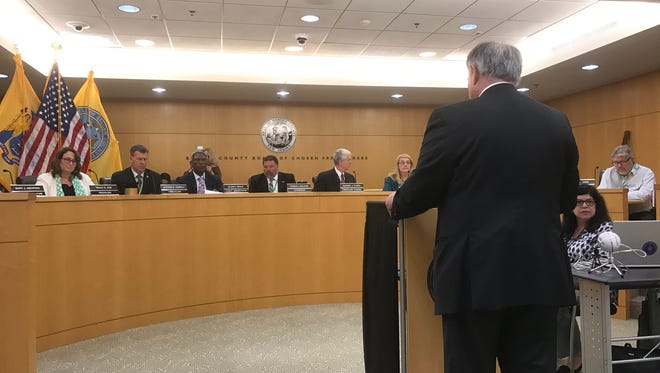 """Bergen County Executive Jim Tedesco addressed the freeholders on Wednesday night, calling the 2018 budget """"that looks  out for residents and their wallets."""""""
