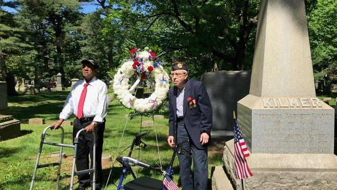 Veterans Walter Braun and Leonard Aarons attended a Memorial Day remembrance at Elmwood Cemetery in North Brunswick on Thursday.