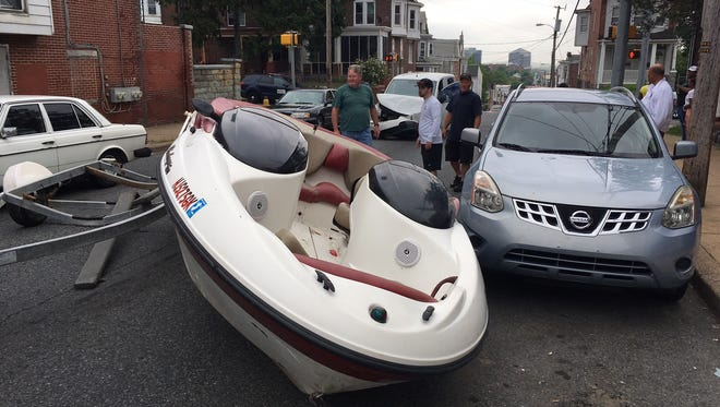 Boat crash at Second and Broom streets, Wilmington,