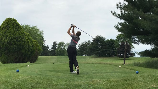 Marion Harding's Kameron Hall tees off during a Heart of Ohio Junior Golf Association tournament this summer at Lincoln Hills in Upper Sandusky. Hall is the area's top returning golfer.