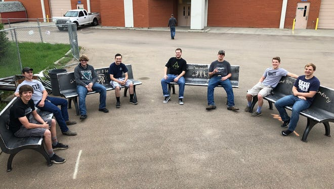 Students from the C.M. Russell High's Industrial Tech Department worked to build four site benches and a bike rack for the new Giant Springs Elementary School, which will open this upcoming school year.