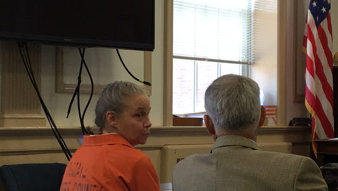 Debra Hartle with attorney Neill Hamilton at her guilty plea in Superior Court, Morristown, to possession of heroin