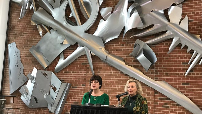 Michigan State University Trustees Dianne Byrum, left, and Melanie Foster, speak at a news conference on Wednesday, June 27, 2018 on the MSU campus in East Lansing. The pair outlined MSU's timeline for hiring a new president.