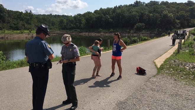 A mother and her 18-month-old daughter are uninjured after their SUV went off the road and into a pond at Pigeon Creek Park on Monday morning. An Army veteran and local resident ran to the scene and pulled the child from the SUV. Both mom and daughter were checked by an ambulance crew before leaving the scene of the ordeal.