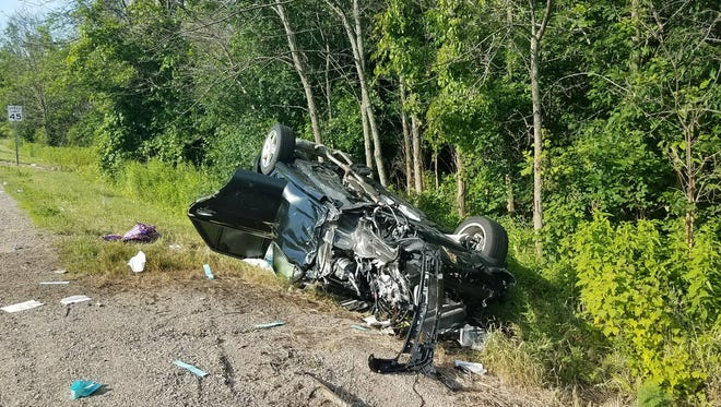 A car flipped over during a five-car crash allegedly caused by a drunken driver on Saturday afternoon, June 30, at Port Washington and Pioneer roads in the town of Grafton.  Five people were sent to the hospital for injuries.