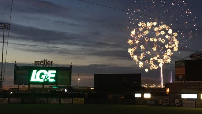 Fireworks at a Louisville Bats game