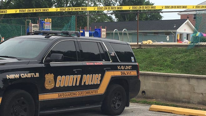 New Castle County Police and paramedics responded to an apartment complex pool near New Castle Wednesday.