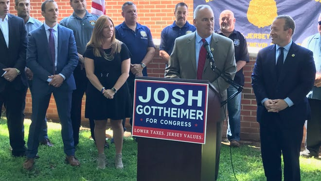 New Jersey PBA president Patrick Colligan endorsing Rep. Josh Gottheimer on Monday at police headquarters in Paramus.