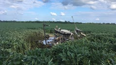 The remains of a helicopter after a crash in Franklin,