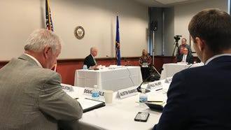 Republican U.S. Sen. Ron Johnson discusses tariffs with Wisconsin farmers, food processors and manufacturers at Federal Courthouse in Milwaukee.