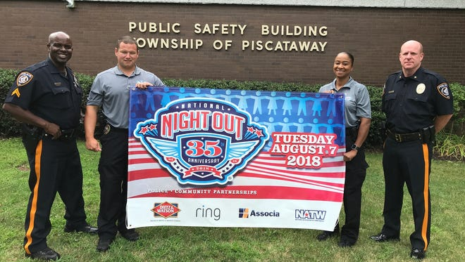 Piscataway Detective Calvin Laughlin, Detective Ray Rose, Detective Tishun Myers and Police Chief Scott Cartmell are gearing up for  the Aug. 7 National Night Out event.